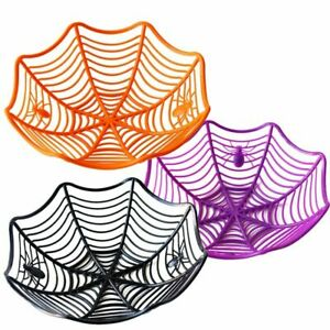 Halloween Home Decor Spider Web Bowl Fruit Plate Candy Trick Or Treat Basket