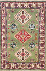 3x5 Light Green Super Kazak Geometric Oriental Area Rug Hand-Knotted Wool Carpet