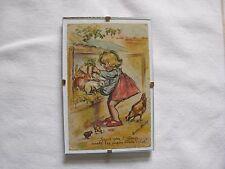 carte postale ancienne Germaine Bouret avec son cadre dessin enfant lapin poule