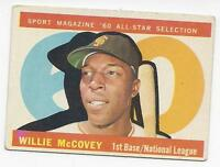 1960 Topps Baseball Card #554 Willie McCovey (Rookie) San Francisco Giants VGEX