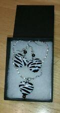 Zebra print hearts - choice of earrings,necklace,bracelet, gift set-girls/ladies