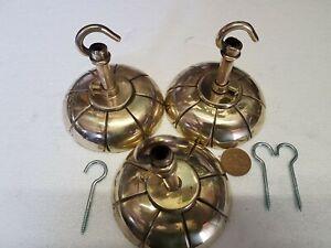 3 x 97mm FRECH CEILING ROSE chandelier hook CAST BRONZE brass VINTAGE old c1930