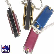 Mini 4 Hole 8 Tone Harmonica Metal Necklace Chain Toy Gift Color Random SMUHA48