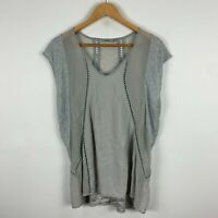 Thurley Womens Silk Tunic Top Medium Grey Short Sleeveless V-Neck