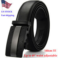 "Mens Belt Slide Ratchet Belt for Men with Genuine Leather 1 3/8, (UP to 49"")"