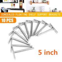 "10Pcs 5"" Heavy Duty Concealed Shelf Floating Hidden Wall Support Metal Brackets"
