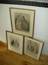 """VINTAGE 3 x RAME chiave nel quadro/oro -19. secolo - """"Revue de la mode"""""""