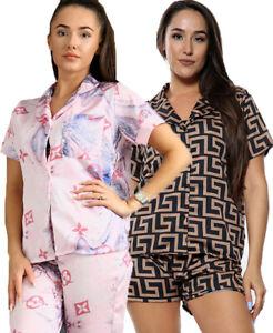 Ladies inspired Greek Designer Print Satin Silk Collard NEW PJ Nighty Pyjamas