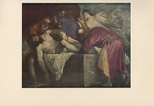 """1955 Vintage TITIAN """"THE ENTOMBMENT (B)"""" JESUS CHRIST COLOR Art Print Lithograph"""