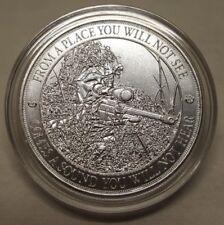 1oz American Sniper Rifle Gun .999 Fine Silver Round Coin Long Distance Shot
