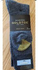 Gold Toe GREY NAVY Mens 3 Pack Watson Merino Wool Dress Crew Shoe Size 6-12-1/2