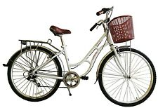 Ecosmo 700C Alloy Ladies Women Shop City Road Bicycle Bike 7 SP -28AC02W+basket
