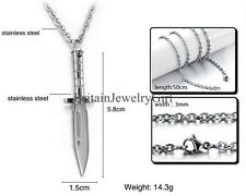 Fashion Men's Stainless Steel Silver Tone Military Dagger Sword Pendant Necklace