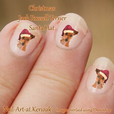CHRISTMAS JACK RUSSELL TERRIER santa hat, Nail Art Stickers , dog decals,