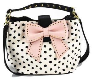 Betsey Johnson polkadot pink bow tie shoulder bag