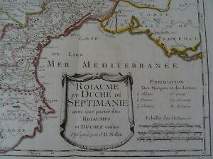 Carte originale histoire de Languedoc Septimanie Aude Pyrénées orientales 1730