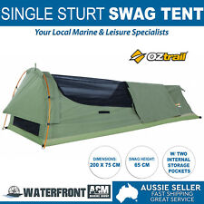 OZtrail Sturt Expedition Swag Single Canvas Bag Camping Hiking Poles Swags Tent