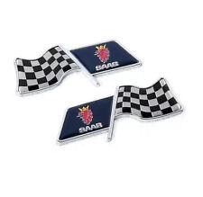 2x Car Emblem Decoration Trunk Badge Fender Sticker Logo Racing Flag For SAAB