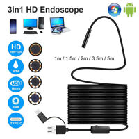 3 in1 USB Type-C Endoscope Inspection Borescope 5.5/7/8mm Lens HD Camera IP68 HC