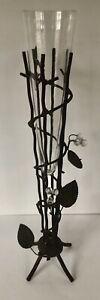 "20"" Tall Metal & Glass Cone Shaped Metal Tree/Vine Motif Removable Glass Vase"