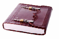 Handmade Leather Notebook Journal Secret Diary Book with Actual Lock Key 10x7