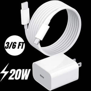 For iPhone 12 11 XR 8 iPad 20W Power Adapter Fast Charger PD USB-C Type-C Cable