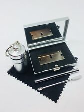SNUFF SNORTING KIT, METAL SNUFF KIT, METAL MIRROR CASE with SILVER Container