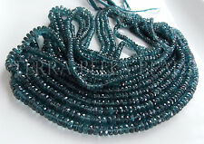 "7"" strand AAA teal blue KYANITE faceted gem stone rondelle beads 3mm - 5mm"