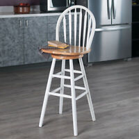 Traditional Cottage Swivel Seat Bar Stool Kitchen Dining Chair Solid Wood White