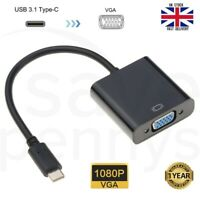 USB 3.1 Type C to VGA Monitor Projector Cable Adapter for MacBook Chromebook HD