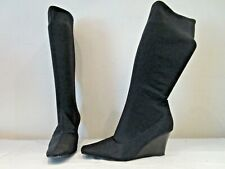 FIORE BLACK STRETCH MID HEIGHT WEDGE SOLE PULL ON BOOTS UK 7 (A3)