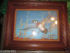"Vintage Duck in Flight Print ~ 14 x 19"" Wood Frame with Felt & Burlap Border"
