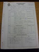 19/10/1999 The Football League Team Sheet: Rotherham United v Hartlepool (Carbon