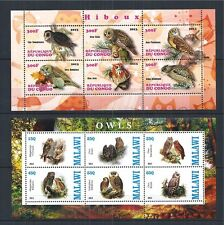 CONGO MALAWI 2013 OWLS BIRDS EULEN HIBOUX 2X MINI SHEET **