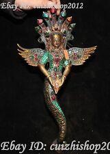 "14"" Tibetan Turquoise Inlay Gem 5-Heads Snake Naga Kanya Goddess Buddha Statue"