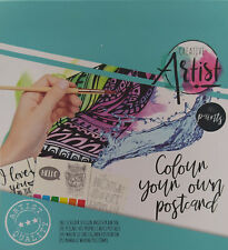 20 Creative Artist Post Karten A6 zum bemalen mit Farben und Pinsel Komplettset