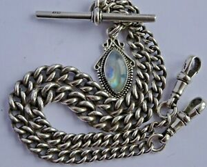 Antique solid silver double pocket watch albert chain w/ silver & moonstone fob