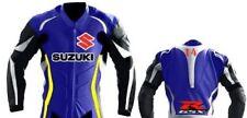 Suzuki Bleu Courses Moto Cuir Veste Cuir de vachette Armures Des sports Veste