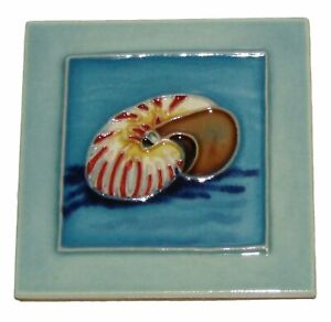 "Sea Snail Shell Art Tile 4""x4"" Decorative Ceramic Blue Background SD-193"