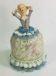 "VTG Ceramic Half Doll Pincushion Raised Arms Lace Dress 6.5"" Blue"