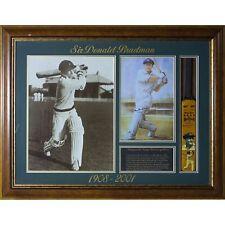 Cricket Australia Sir Donald Bradman Framed Mini Bat and 2 photos - Framed