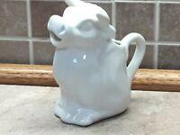 "Vintage White Ceramic Cow Creamer MilkFor Coffee Or Tea 5"" Tall"