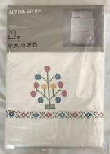Ikea Alvine Spira Queen Duvet Quilt Cover 2 Pillowcase White Cross Stitch Detail