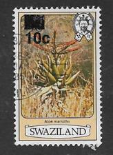 SWAZILAND POSTAGE DEFINITIVE USED SURCHARGE 1984 STAMP FLOWERS 10c MARLOTHII