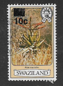 SWAZILAND POSTAGE DEFINITIVE USED SURCHARGE 1984 STAMP FLOWERS 10c MARLOTHII