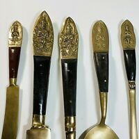 Vintage Siam Thai Carving Serving Set Brass Ebony Rosewood Utensil Letter Opener