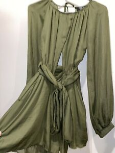Paper Heart Khaki Green Cut Out Front & Back Tie Playsuit Size 8