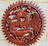 Balinese Dragons Solid wood hand Carved  Plaque Wall art decor LARGE 60 x 60 cm