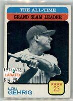 Lou Gehrig  New York Yankees  1973 & 1976 Topps Leaders
