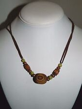 "Green Bead Tribal 18"" Wooden Geometric Beaded Necklace Gold"